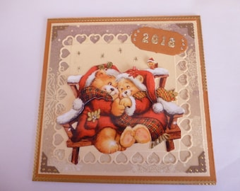 """2017156 greeting card """"couple in love bear"""""""