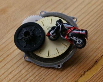 Motor West Upcycled Micro Machine Watch Brooch