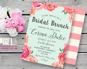Trendy Watercolor Floral Bridal Brunch Invitation - CUSTOMIZABLE PRINTABLE INVITATION - Watercolor Style Flowers with Mint and Pink