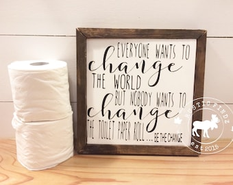 Bathroom Wood Sign // Bathroom Sign // Bathroom Decor // Bathroom Wall Decor