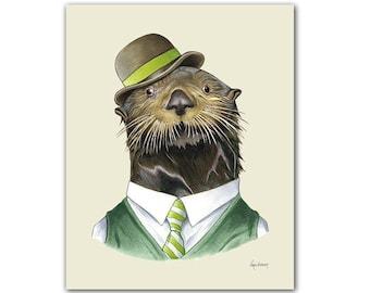 Otter art print - Animal art - Nursery art - Nursery decor - Animals in Clothes - Children's art - Ryan Berkley Illustration 8x10