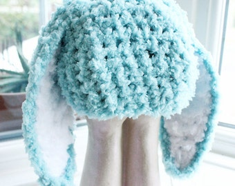 3 to 6m Infant Bunny Hat Baby Beanie Crochet Boy Girl Hat Easter Baby Hat Mint Blue White Rabbit Hat Photo Prop  , Baby Gift