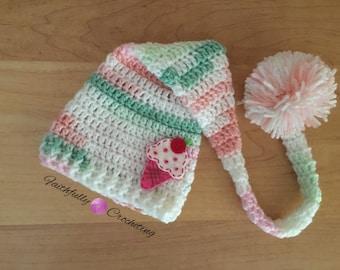 Newborn elf hat.. Ice cream cone hair clip... Photography proo.. Ready to ship