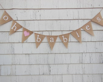 Twins Baby Shower Decorations, Oh Baby Banner, Oh Babies, Oh Baby Bunting, Twins Baby Shower, Burlap Banner, Twins Baby Shower Banner