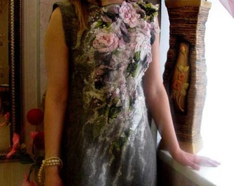 "Nuno felted dress ""FLORA  "" dress with floral motif  Dress with roses"