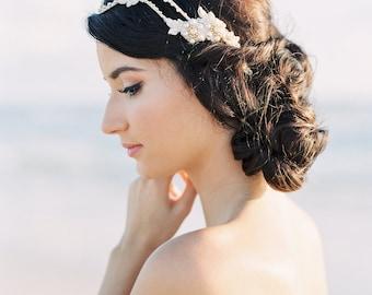 Vigne de cheveux de mariée. Accessoire de coiffure mariée. Parure de perles mariage {Lilly}