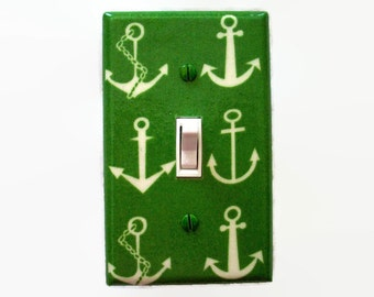 Anchor Light Switch Cover - Green Nautical Nursery Decor - Anchors Switch Plate
