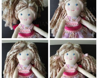 Handmade Fabric Doll in White and Pink Floral print