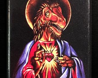 Dino Jesus Black Velvet Fridge Magnet