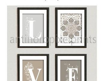 Love Khaki Grey Stone White Wall Art Vintage / Modern Inspired -Set of 4 - 8x10 Prints -  (UNFRAMED)