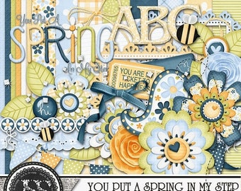On Sale 50% Off You Put A Spring In My Step Mini Add On Digital Scrapbook Kit