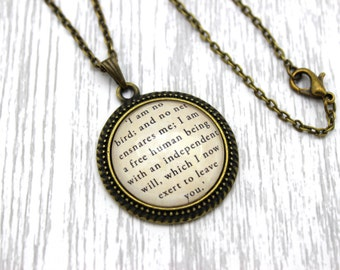 Jane Eyre, 'I Am No Bird; And No Net Ensnares Me', Charlotte Brontë Quote Necklace or Keychain, Keyring.