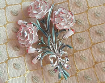 Vintage Pink Carnation Enamel Leaf Brooch pin 1950s Exquisite