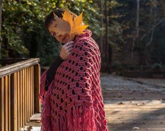 Crochet Shawl, Wool Shawl, Handmade Shawl, Woman Shawl, Rotten Apple Shawl, Triangle Shawl, Fringe Shawl