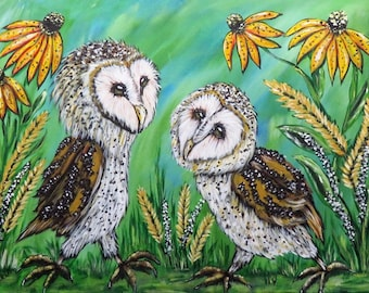 Barn Owl Print, ACEO PRINT, Art Trading Card, Limited Edtion of 50 Prints, Miniature Wall Art, ACEO print of my Original Painting, Gift Idea