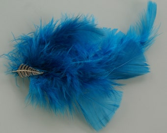 Blue Feather Hair Fastener with Silver Fern Accent