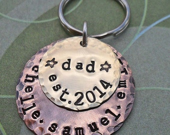 Dad Keychain - Personalized Dad Daddy Papa Keychain -Fathers Day- Hand-Stamped Custom Names -  K56
