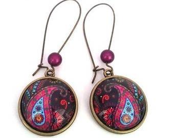 Bronze earrings Bohemian Paisley Paisley cabochon • •