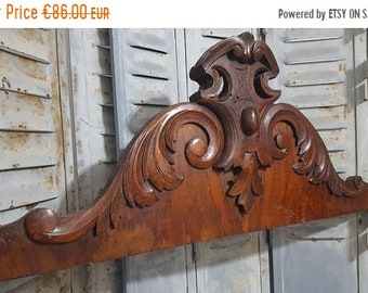 SALE Hand CARVED WOOD Pediment Antique French Coat Of Arms Architectural Crown Salvage Salvaged Upcycled Custom furniture Crest Panelling Ch