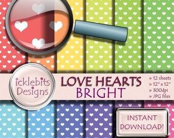 "Bright Hearts Digital Paper Pack, ""LOVE HEARTS"" For Scrapbooking, pastel paper, heart digital paper,valentine digital paper, Design #77"