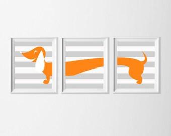 Dachshund Art Printable, Neutral Nursery Art Orange Grey, Doxie Wall Art, Nursery Boy Girl Set of 3 Wall Art, Wiener Dog Art, Orange Artwork