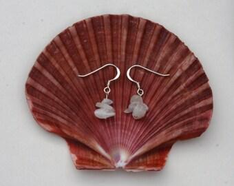 Rainbow Moonstone earrings. Sterling Silver earrings, hypoallergenic earrings. Zodiac jewellery, cancer birthstone jewellery. White earrings