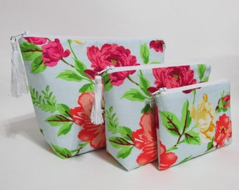 Handmade makeup bag - 3 piece set - cosmetic bag - Bright flowers n light blue - toiletry holder - ready to ship - Personalized gift for her