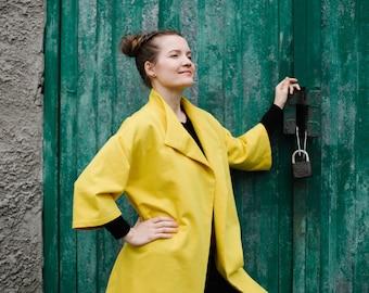 Yellow coat, summer coat, linen coat,  oversize coat, women coat outerwear, cloak cardigan colour variations