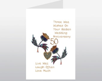 Scottish Golden Wedding Anniversary Card Thistle WWWE16