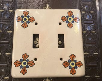 Mexican Pottery Switchplate, Aztec Home Decor, Handmade Mexican Style  Switchplate