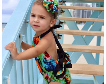 "Bright Floral Ruffle Back Back Romper - Sunsuit Set - 4"" Matching Bow on Black Nylon Band Included"