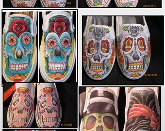 Day of the dead Traditional Custom shoes, Dia de los Muertos hand drawn tattoo style shoes.  One of a kind hand drawn and colored shoes