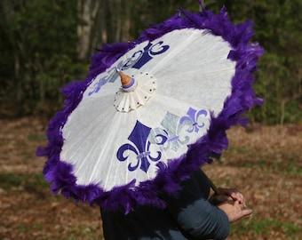 Purple & Ivory parasol with Hand Painted Fleur de Lis