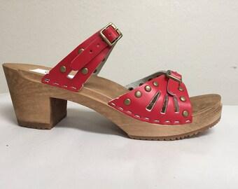 Red studded Medium Heeled  Sandals
