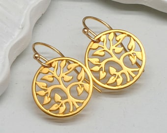 Gold Tree of Life Earrings, Gold  Vermeil
