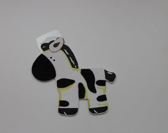 Painted Wood Zebra Cutout Shape, Cutout Shape, Painted Wood Zebra with Felt, Safari Animal, Jungle Animal, Safari Themed Nursery/Baby Shower