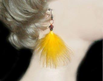 Fan Feather Earrings / Yellow Earrings / SALE / Tribal Ethnic Boho - Y28