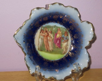 Antique Victoria Austria Porcelain Wall Plate - Roman Maidens Circa 1900
