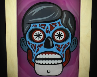"Hand Painted - They Live - 5""x7"" Acrylic Picture with Custom Wood Frame - OBEY"