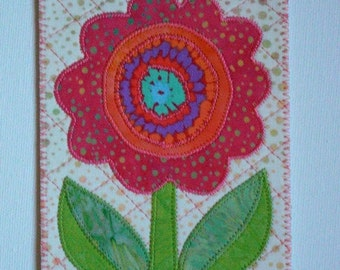 Flower Birthday Mom Friend Card -MADE TO ORDER- Friend Him Her Child Frame Gift Thank You Housewarming Room Decor Hello 4x6 Fabric Postcard