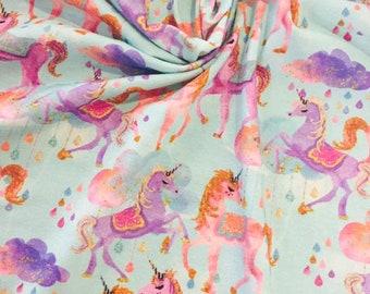 Unicorns 1/2 yard cotton lycra knit