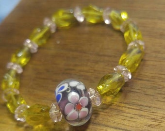 "Child's Art Glass and Crystal Bead Bracelet 5.5"" Elastic"