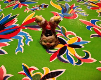 Vintage hand painted ceramic cute clown doing a handstand- Japan