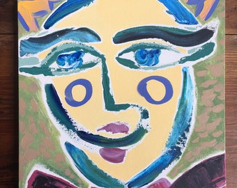 Original abstract art on canvas of face