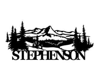 Personalized Mountain Name Metal Sign - Custom metal Name sign