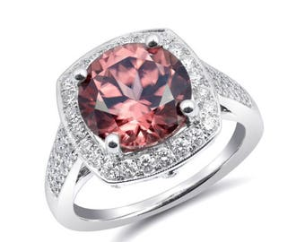 Natural Pink Zircon 4.72 carats set in 14K White Gold Ring with 0.57 carats Diamonds