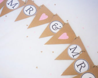 Mr & Mrs Bunting, Mr and Mrs bunting, wedding bunting, photo booth prop, married sign, rustic wedding, wedding decor, bride and groom decor