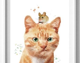 Cat Print,Prints, Nursery Decor, Cat Wall Art,Babies Animal Print, Watercolor Art, Nursery Cat Print, Pic No 122