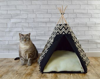 Cat teepee, Cat bed, Cat cave, Dog teepee with cushion - chevron - black & ivory