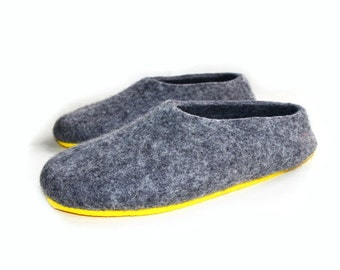Gray Felt slippers Men Women shoes Eco Friendly wool felt clogs, Boiled Wool slippers Handmade Eco Gray House shoes 7 color Rubber Soles